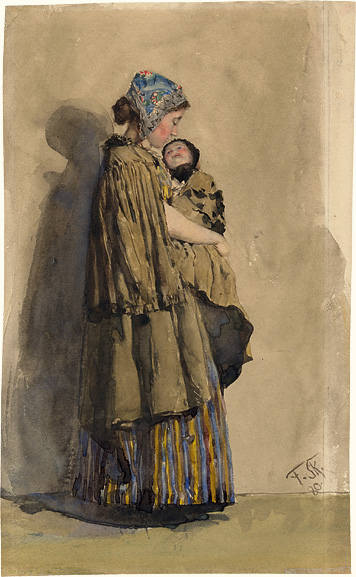 Young Woman carrying an Infant