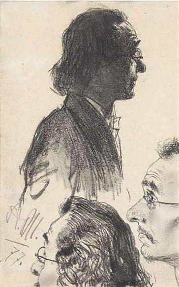 Studies of a man with glasses