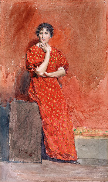 Young woman with a red dress