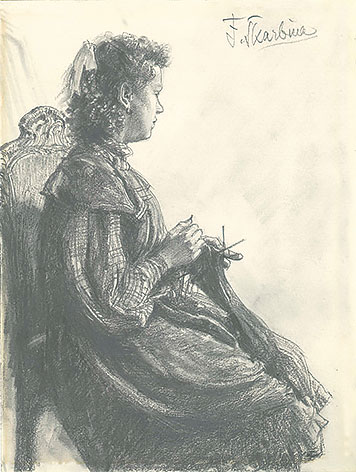 Young woman with needlework