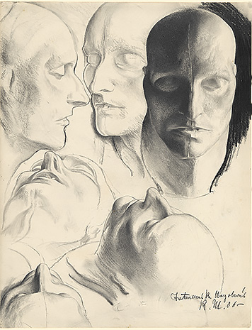 Six views of the death mask of Napoléon